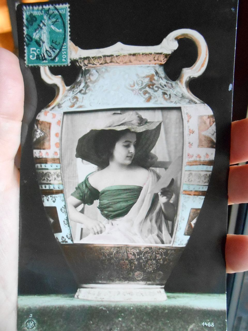 Woman in Greek Vase Real Photo montage 1911 NPG German printed postcard