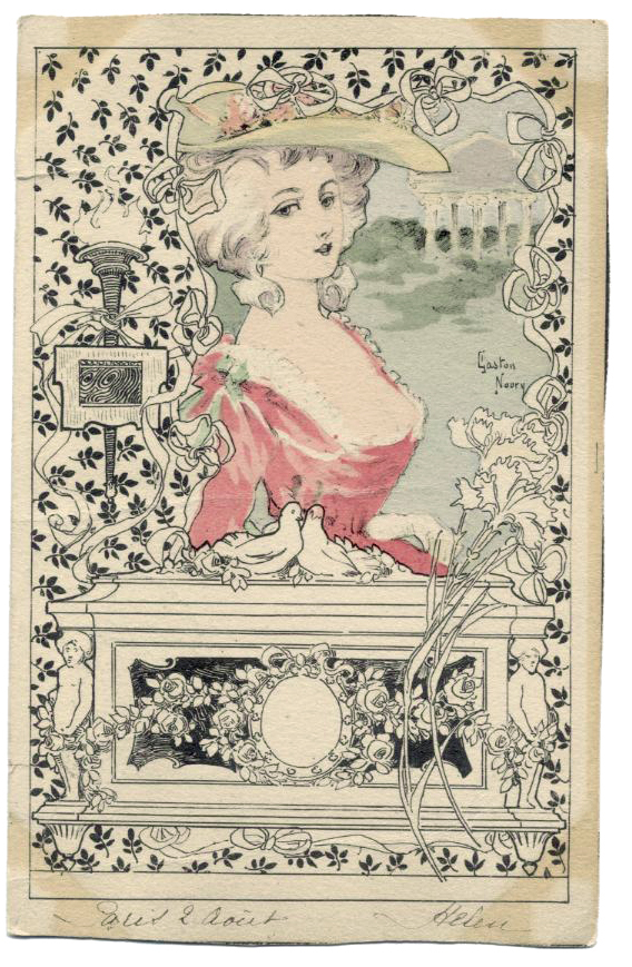 Art Nouveau artist signed Gaston Noury 1902 Antique French postcard