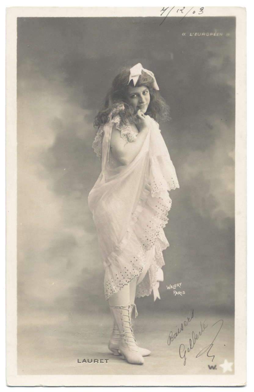 1903 French postcard Stage Star in Ruffled Chemise