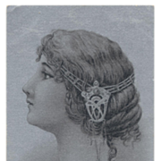 Art Nouveau Illustration Hair Jewelry Silver Antique French Postcard