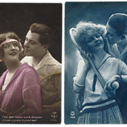 2 Art Deco TENNIS Couples French Postcards
