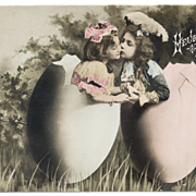 UNUSED French Easter Postcard Children in huge EGGS Kissing