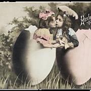 UNUSED French Easter Postcard Children in huge EGGS Kissing