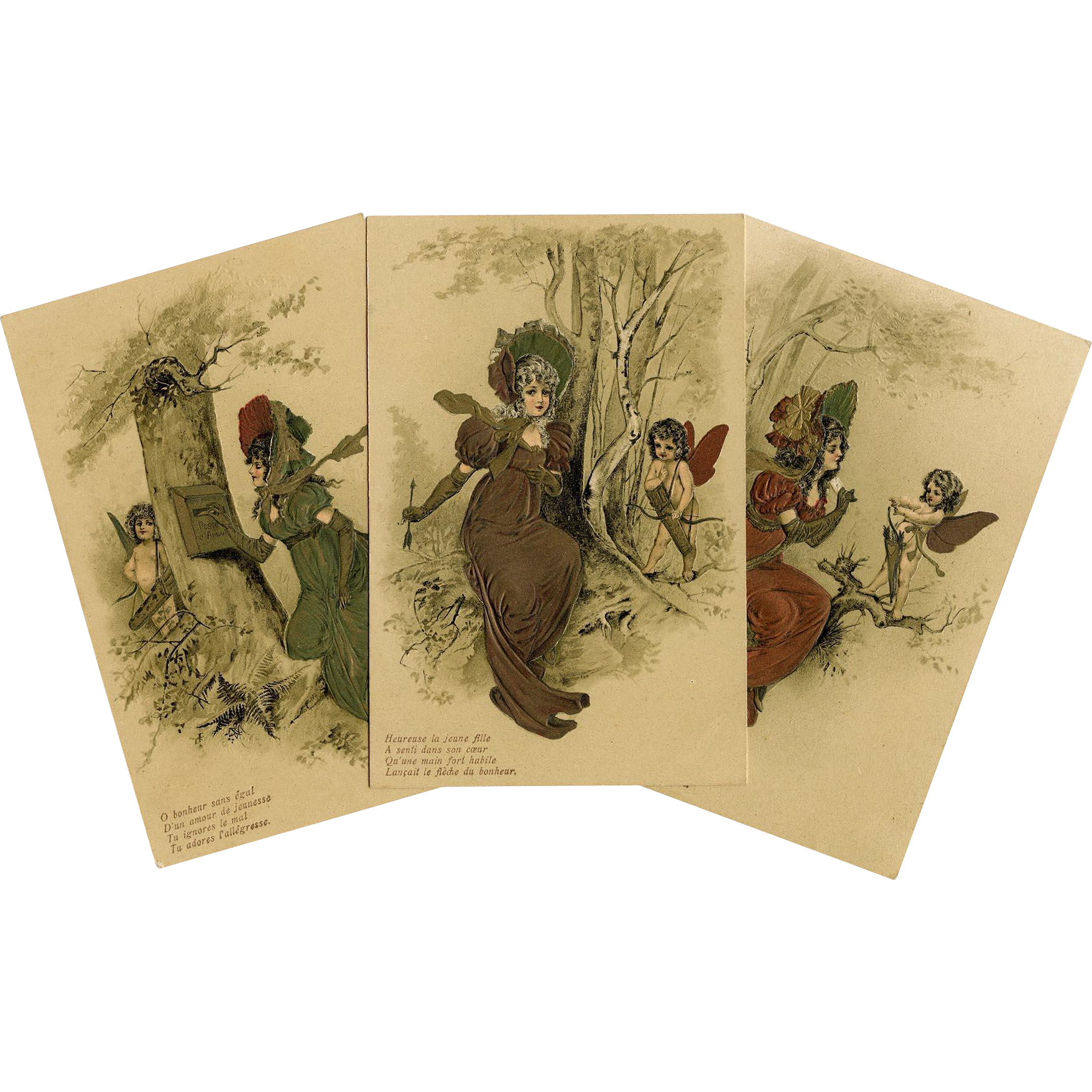 Cupid and Lady with Love Letter Series Three Unused Antique French German Postcards Embossed with Metallic Paints