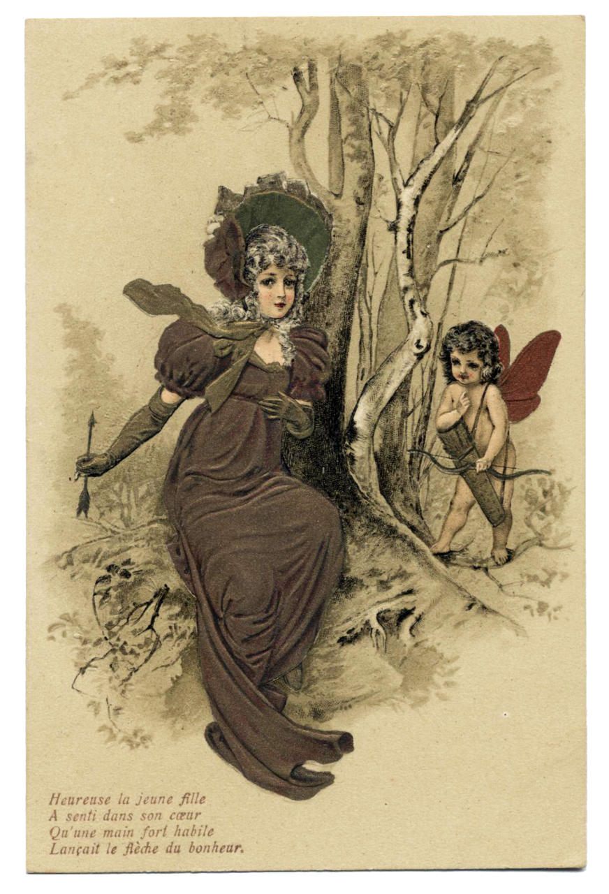 RARE embossed French postcard Cupid and Lady with ARROW No.3 Copper