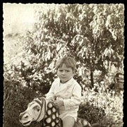 French boy on POLKA DOT Wooden Horse Real Photo Postcard