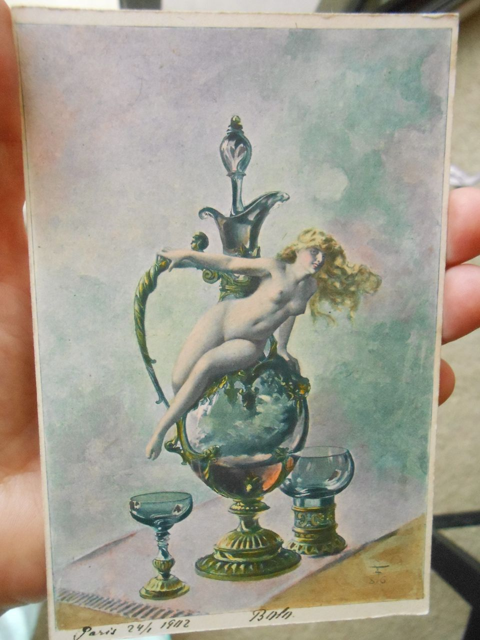 "Artist Signed Nude Lithograph Luis Ricardo Falero ""Wine of Tokai"" from Polish Count's Postcard Collection"
