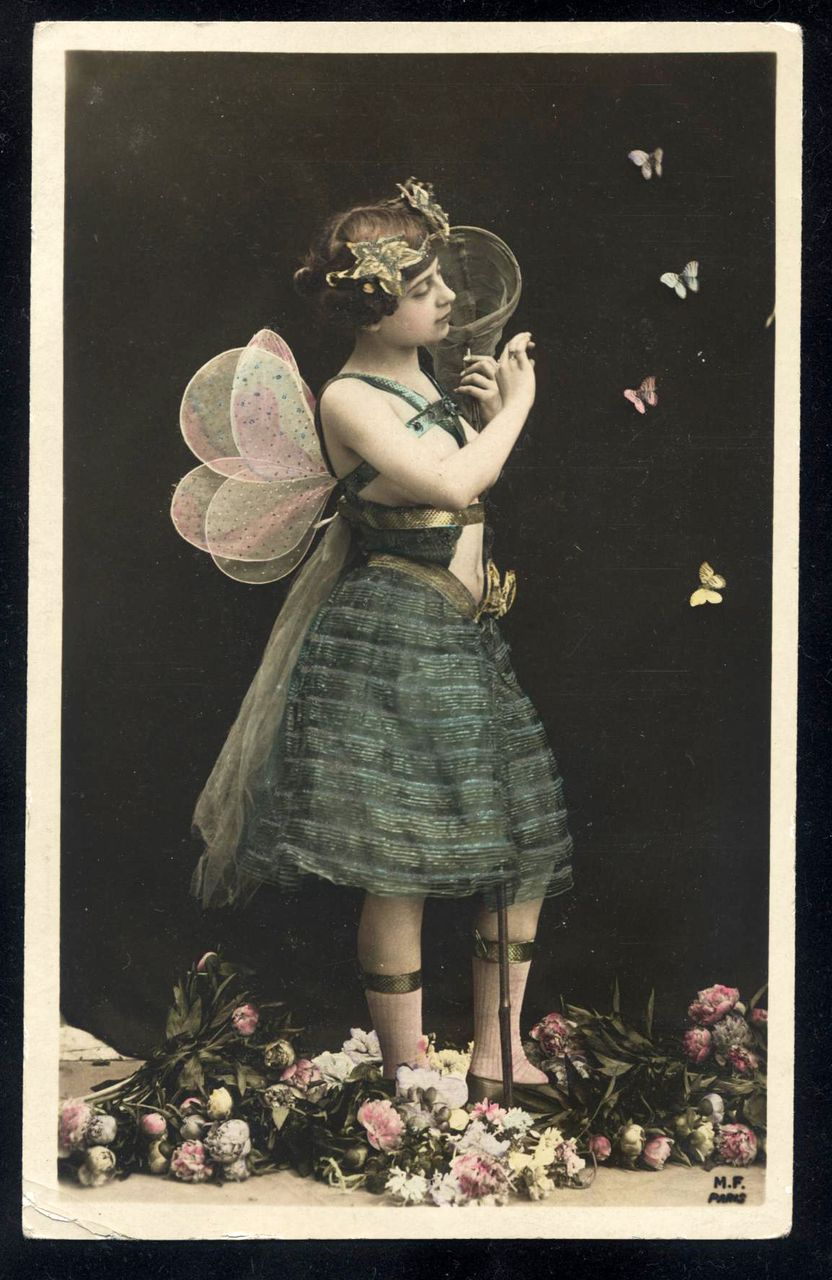 RARE Butterfly Lady French Fantasy Real Photo postcard 1905
