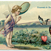 ANGEL  with Butterflies Heart Vintage French postcard