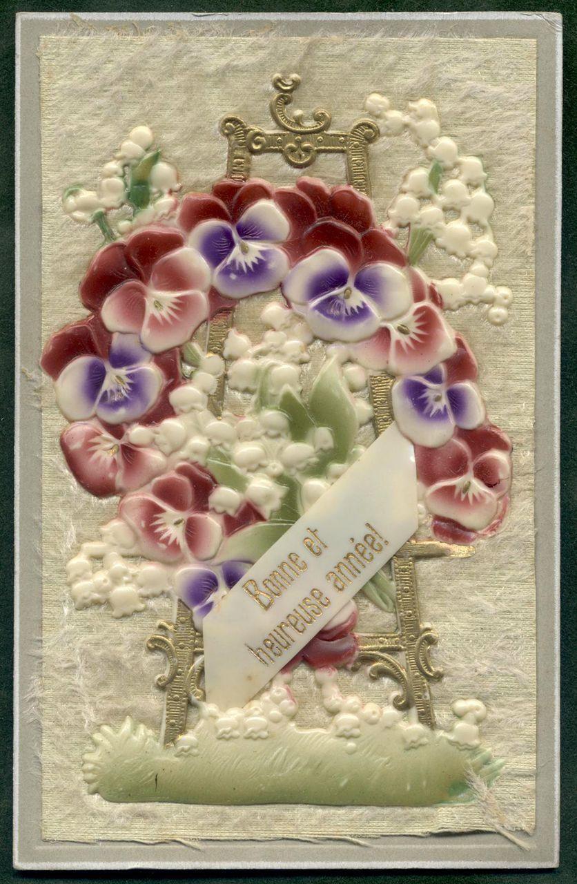 Embossed 3-D Plastic Bakelite fabric Postcard PANSIES Happy New Year