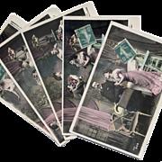 5 Antique French Postcards AFFAIR series Menage a Trois