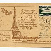 1959 Postcard honoring Count Lambert's 1909 flight around Eiffel Tower