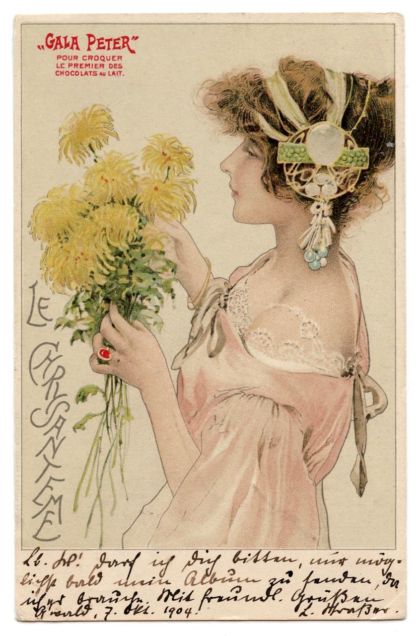 Art Nouveau Lithograph Le Chrsyanteme GALA PETER 1904 Antique postcard