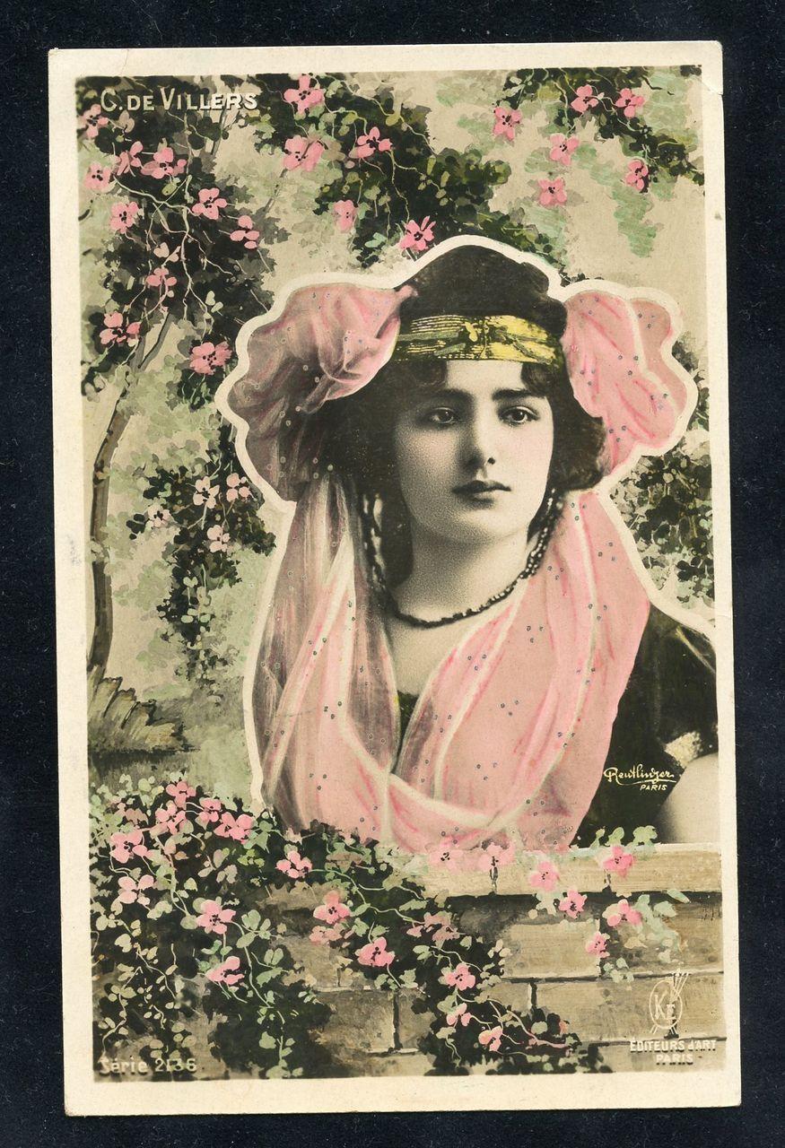 French Beauty Queen Stage Star Carmen de Villers Reutlinger Photo Montage Postcard