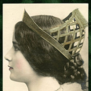 Superlative CLEO de MERODE Reutlinger Unused Antique French Postcard Profile with CROWN