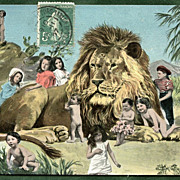 LION with Multiple BABIES  Antique German Postcard