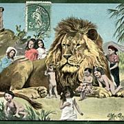 LION with Multiple BABIES  Antique German Postcard