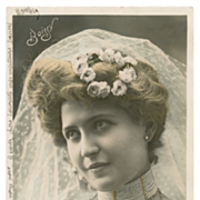Edwardian BRIDE Actress Boissy Stebbing Real Photo Antique French postcard