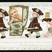 NESTLE Farine BABY in Litter/King Carrier Birth Announcement Antique French Advertising Chromolith Postcard