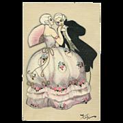 Sofia CHIOSTRI Artist signed (Fofi) Italian Postcard 17th Century Minuit Couple