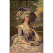 18th Century Glamour Lady in Purple Lace German Meissner &Buch UNUSED