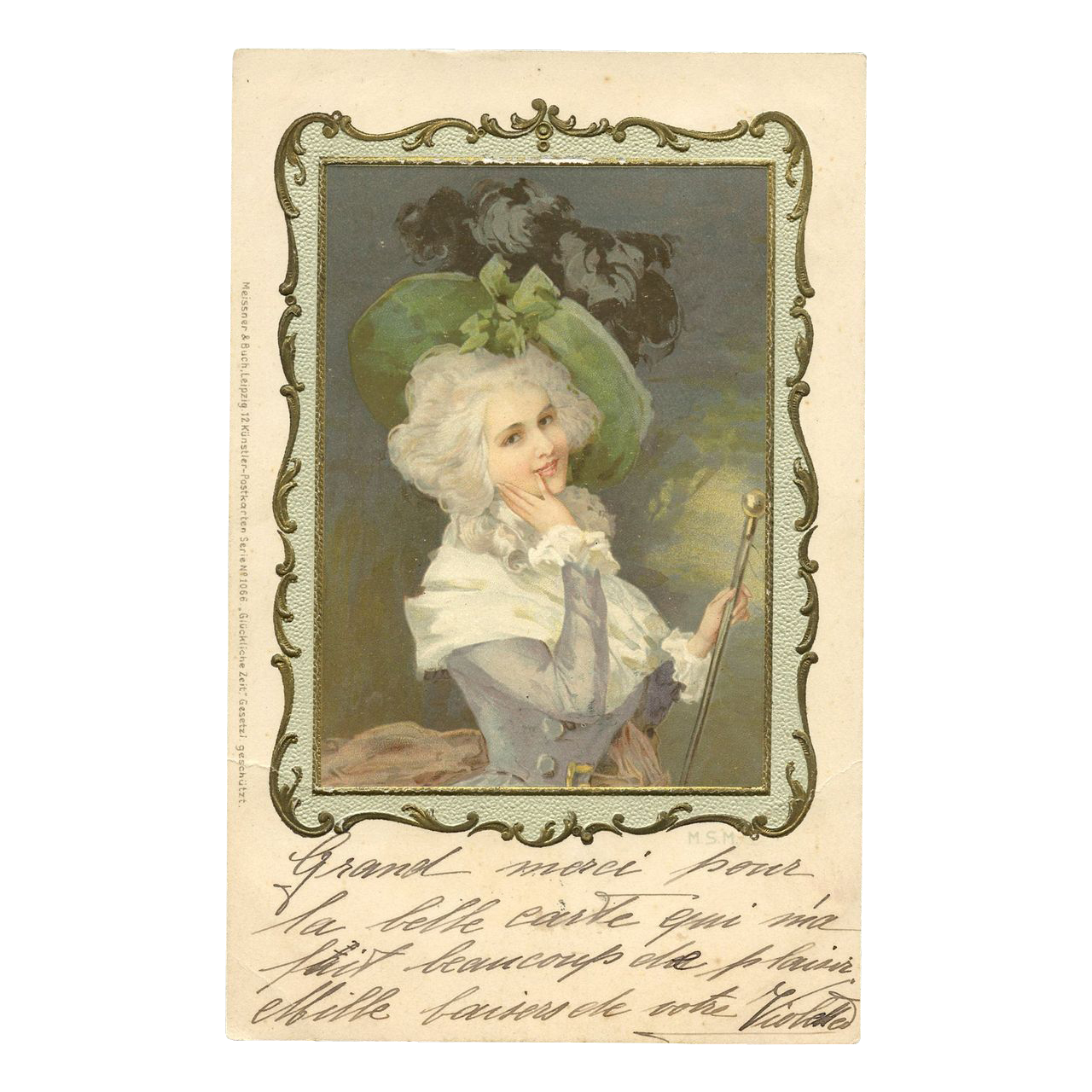 Meissner & Buch Lithograph postcard with Embossed Frame 17th Century Lady
