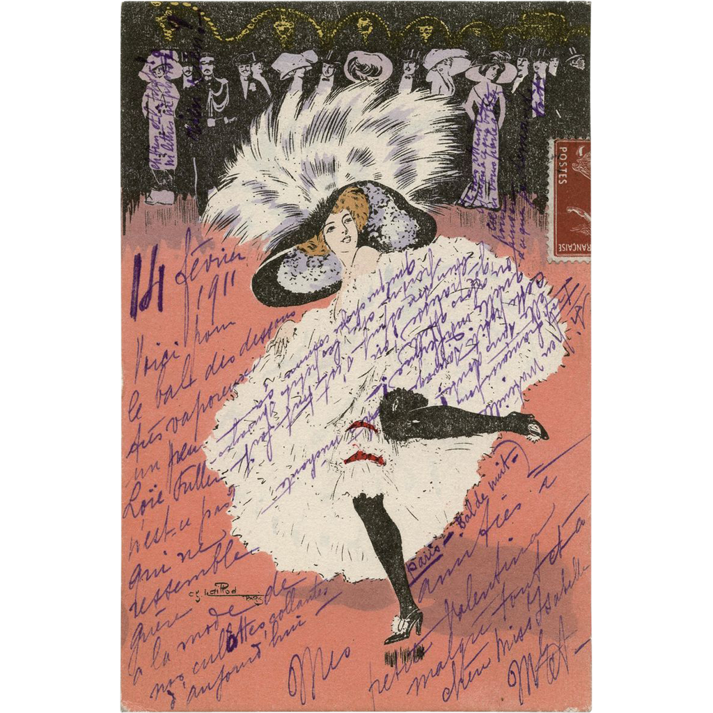French CANCAN Dancer by Artist Naillod Paris Antique Postcard mailed to Knickerbocker, US