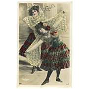 Belle Epoque Dancer Luz CHAVITA Real Photo by Reutlinger with Multi-colored GLASS BEADS