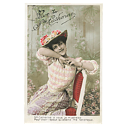 St Catherine French Postcard 1908 Beautiful Edwardian Lady with Floral Hat