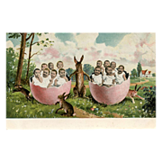 Rabbits and Multiple Babies in Pink Egg Halves  German Chromolithograph Postcard Unused