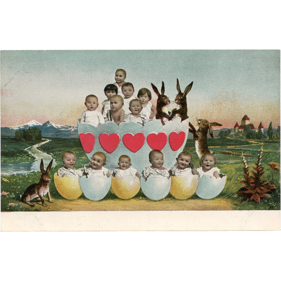 Multiple BABIES in Egg Shells HEARTS Rabbits German Chromolithograph Postcard UNUSED