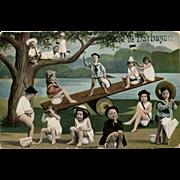 1906 Barbazan France Souvenir Multiple Babies Postcard