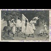 RARE Fantasy Montage Glamour Women CENTAURS Antique German NPG Postcard
