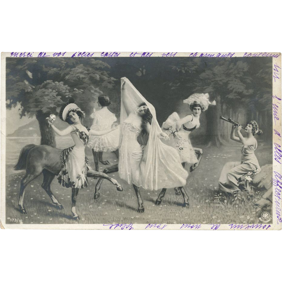 Fantasy Photomontage Glamour Women Centaurs Antique German NPG Mythical Postcard