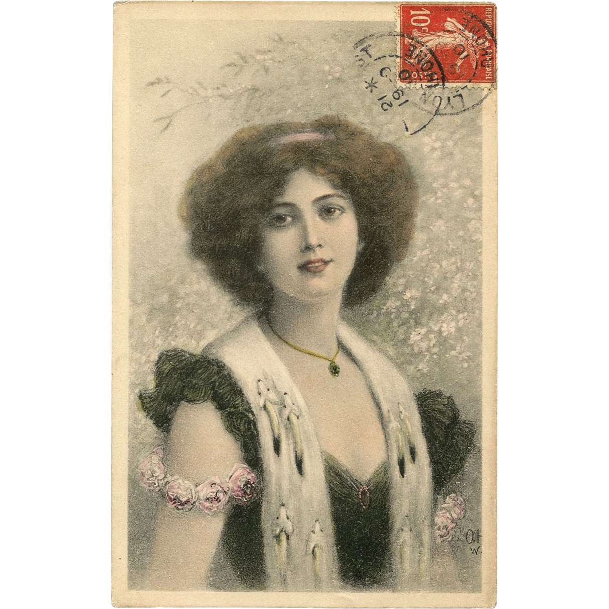 Woman in ERMINE fur stole Illustration 1910 German lithograph postcard