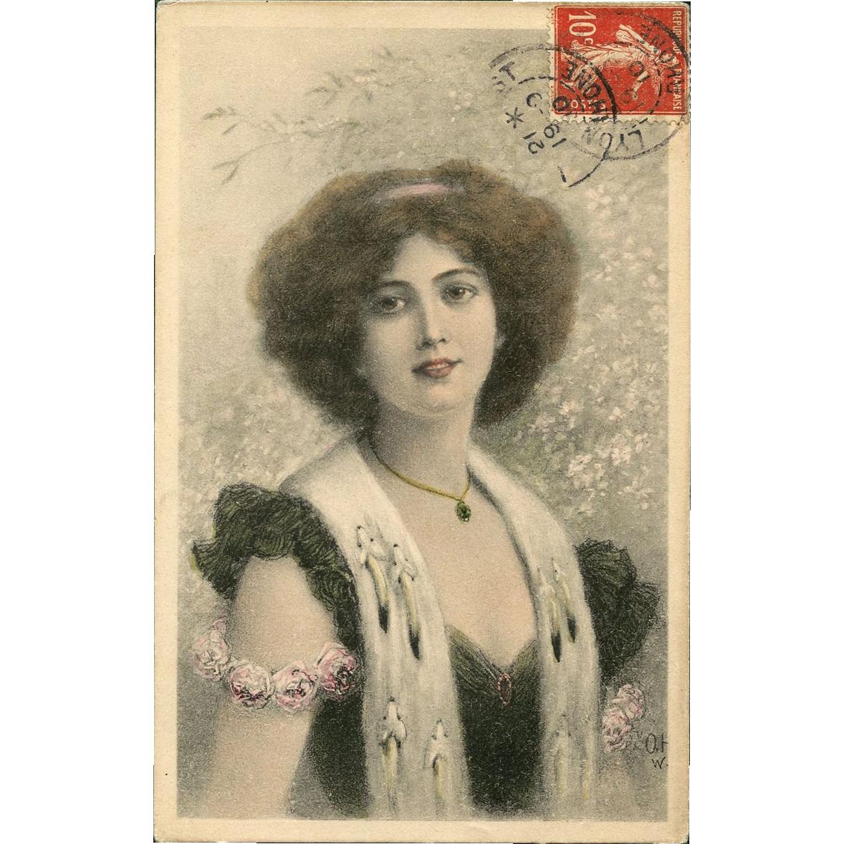 Woman in ERMINE fur stole Illustration 1910 German lithograph postcard