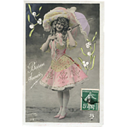 Glamour Lady in PINK with Lavender Umbrella Hand Painted STEBBING Photo Postcard
