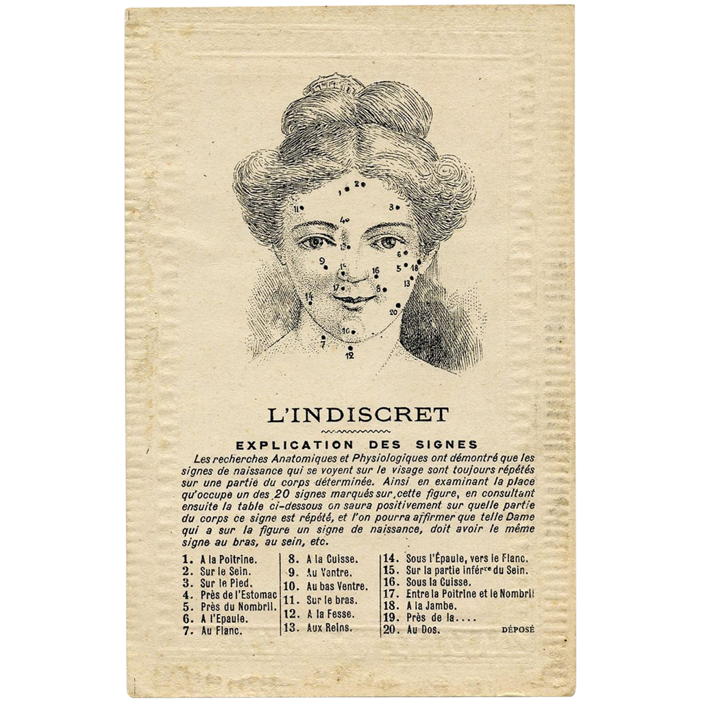 Fortune telling FACE reading Astrology 1918 French postcard