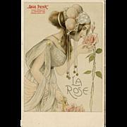 Art Nouveau Lithograph LA ROSE Gala Peter  Antique postcard UNUSED