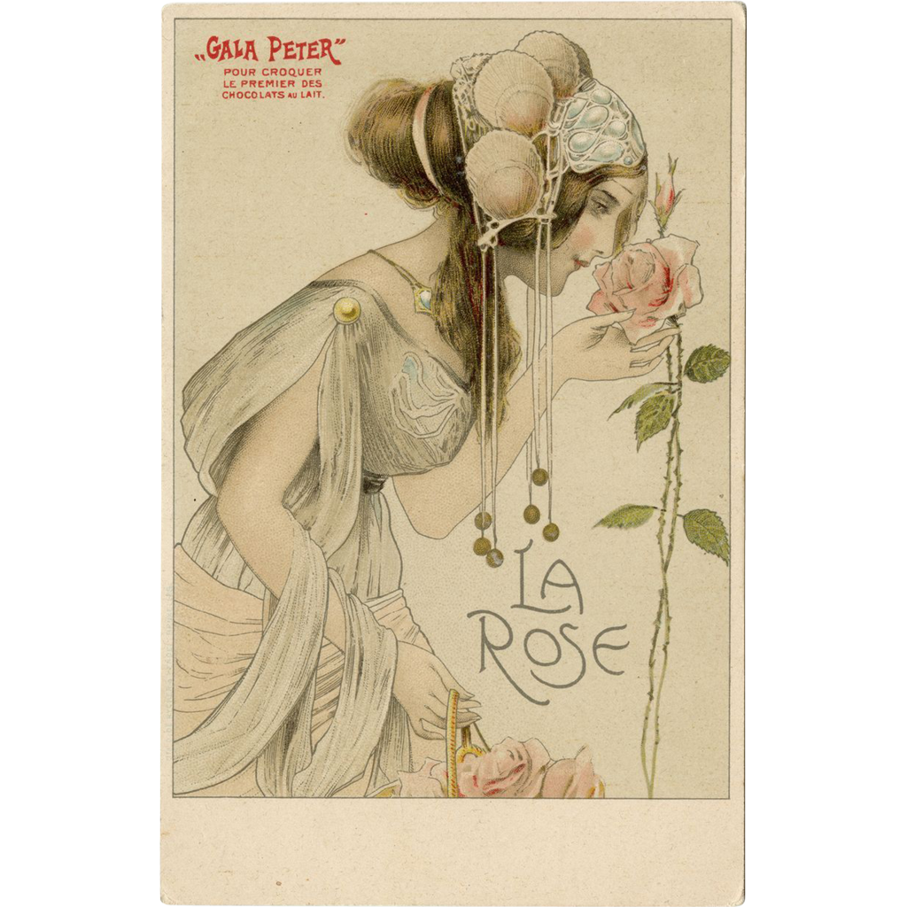 Art Nouveau Lithograph LA ROSE Gala Peter  Antique postcard UNUSED