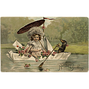 Antique Doxie Postcard Dachshund Paddling a Boat Edwardian Girl Roses 1907