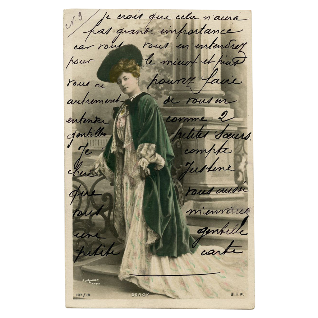 Reutlinger Glamour Postcard Real Photo of Actress in Green Velvet Cape