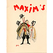 Maxim's 1936 Artist Signed Menu for Gastronomy Club  Bellhop with Top Hats and Coats by caricaturist Sem