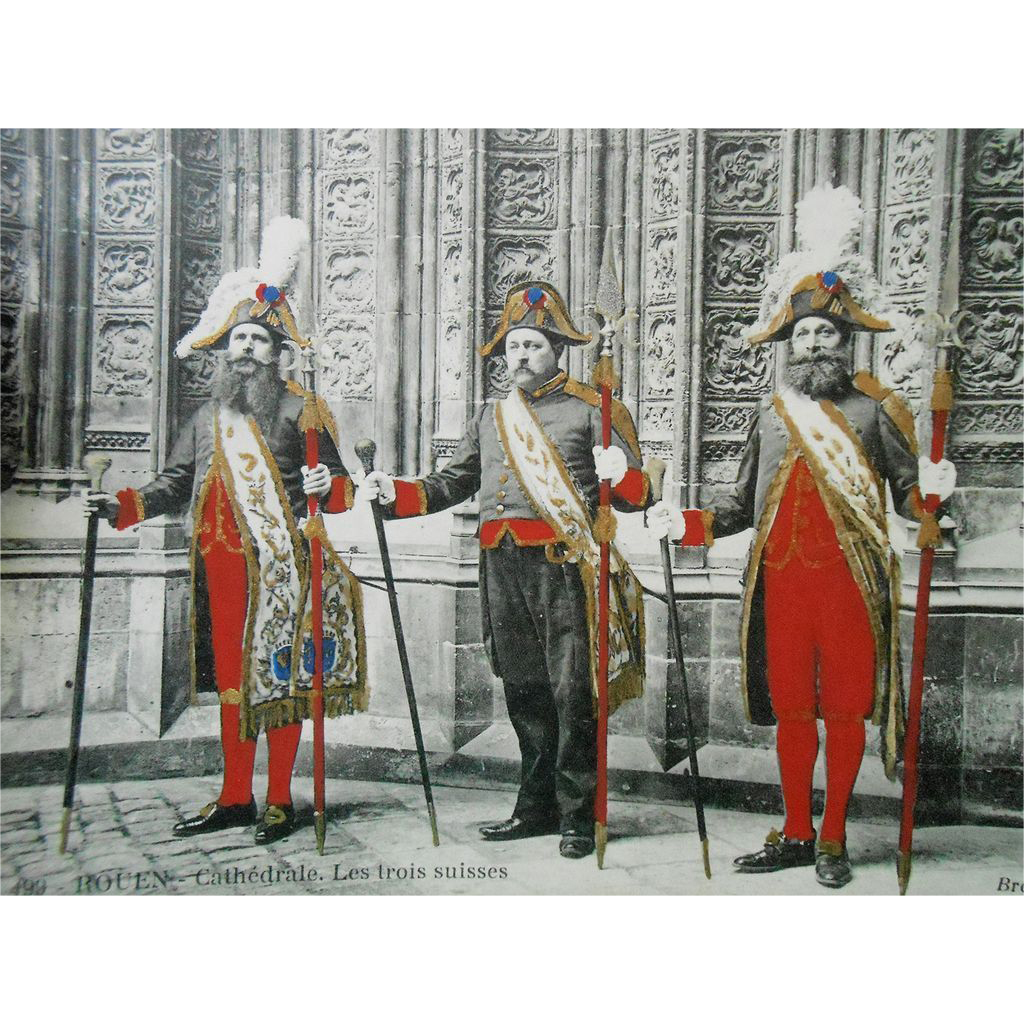 Hand-painted French postcard of 3 Swiss Guards at Rouen Cathedral Unused