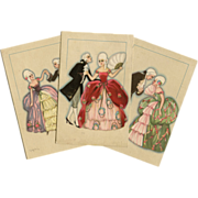 3 Artist Signed Chiostri Art Deco Italian Postcards