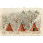 Three Tents and a Scout Original Antique Watercolor French Postcard