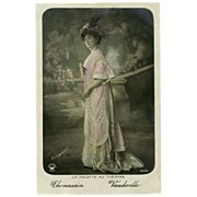 Edwardian Vaudeville Actress in Lavender Gown Real Photo French Postcard - Red Tag Sale Item