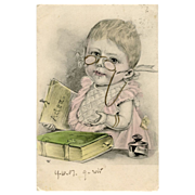 1903 Illustrated Postcard Smart Baby wearing Pince-nez