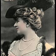Belle Epoque Actress Cecile Sorel 1906 Postcard Real Photo by Reutlinger