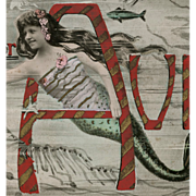 1907 French April 1st  Mermaid Postcard Real Photo Montage